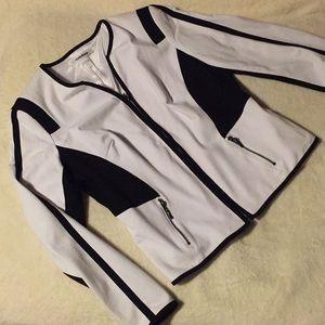 White and black stylish zip up jacket